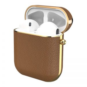 Gaze leather Airpods case - Brown_!_alpha store online shopping in kuwait