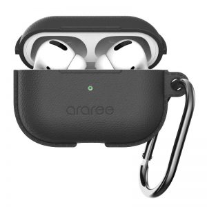 ARAREE POPS LAEATHER TEXTURE SILICONE CASE FOR APPLE AIRPOD PRO - BLACK_alphastore_kuwait2